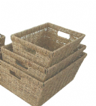 Deep Big Wider Kitchen A4 Paper Log Hamper Seagrass Storage Basket + Handle